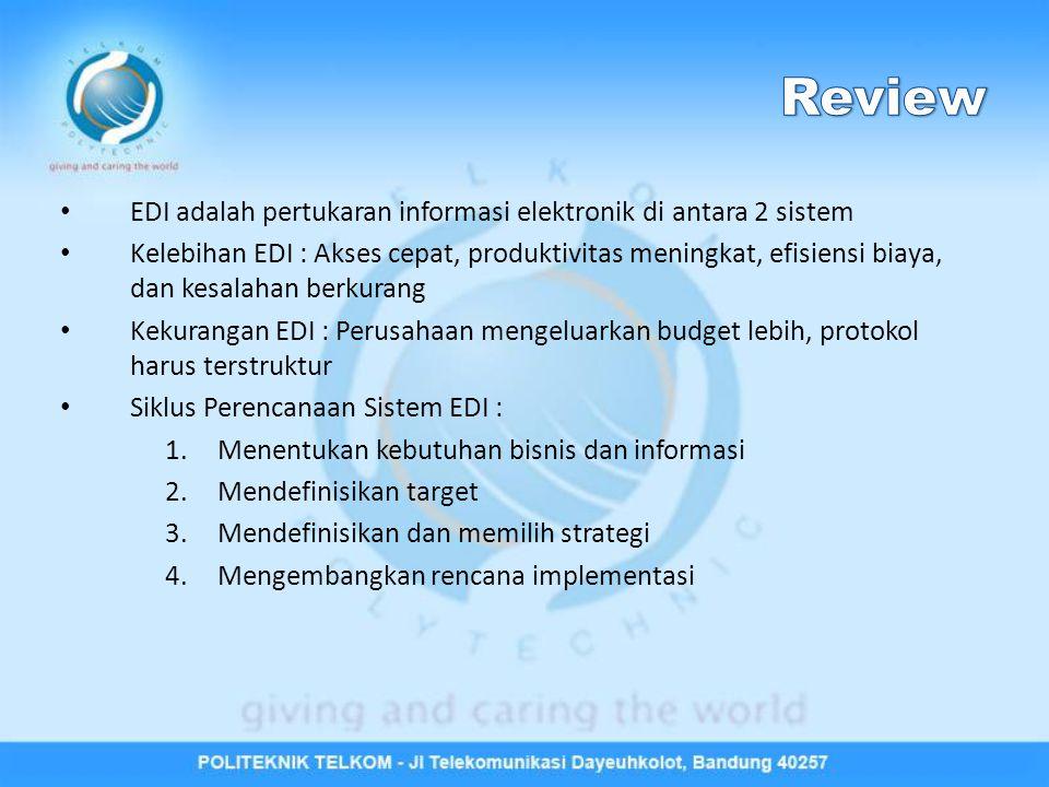 Review EDI adalah pertukaran informasi elektronik di antara 2 sistem