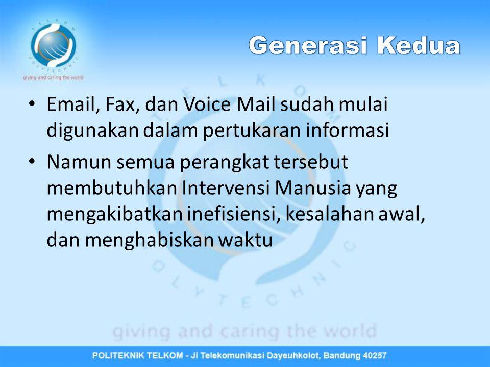 Generasi Kedua Email, Fax, dan Voice Mail sudah mulai digunakan dalam pertukaran informasi.