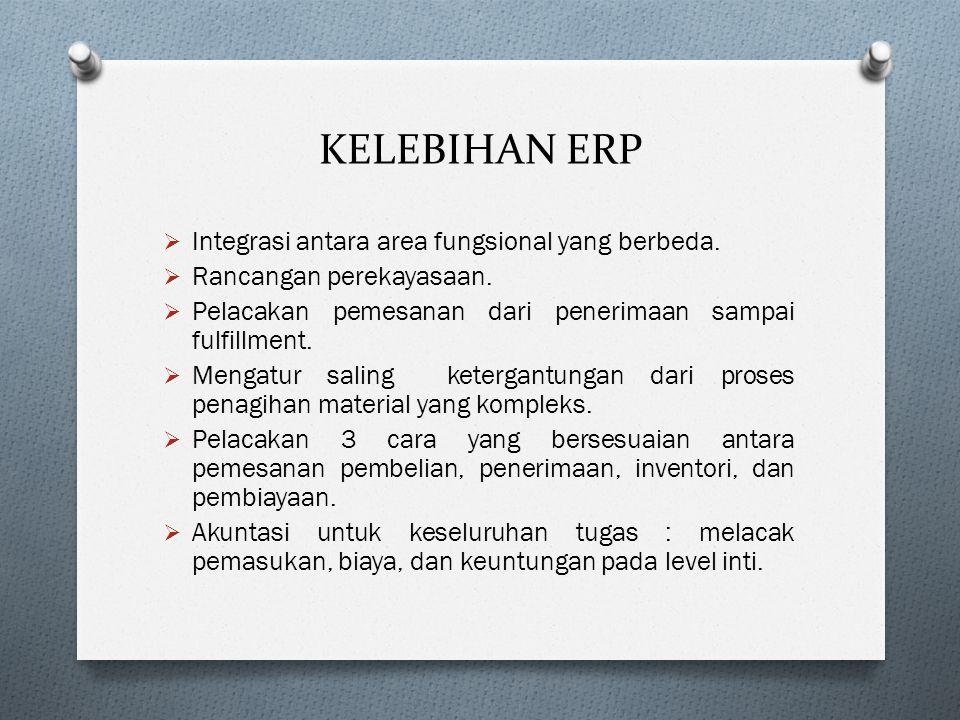 KELEBIHAN ERP Integrasi antara area fungsional yang berbeda.