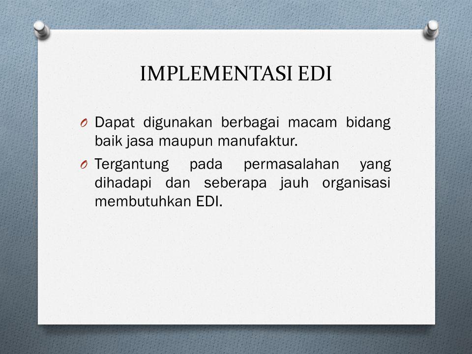 IMPLEMENTASI EDI Dapat digunakan berbagai macam bidang baik jasa maupun manufaktur.