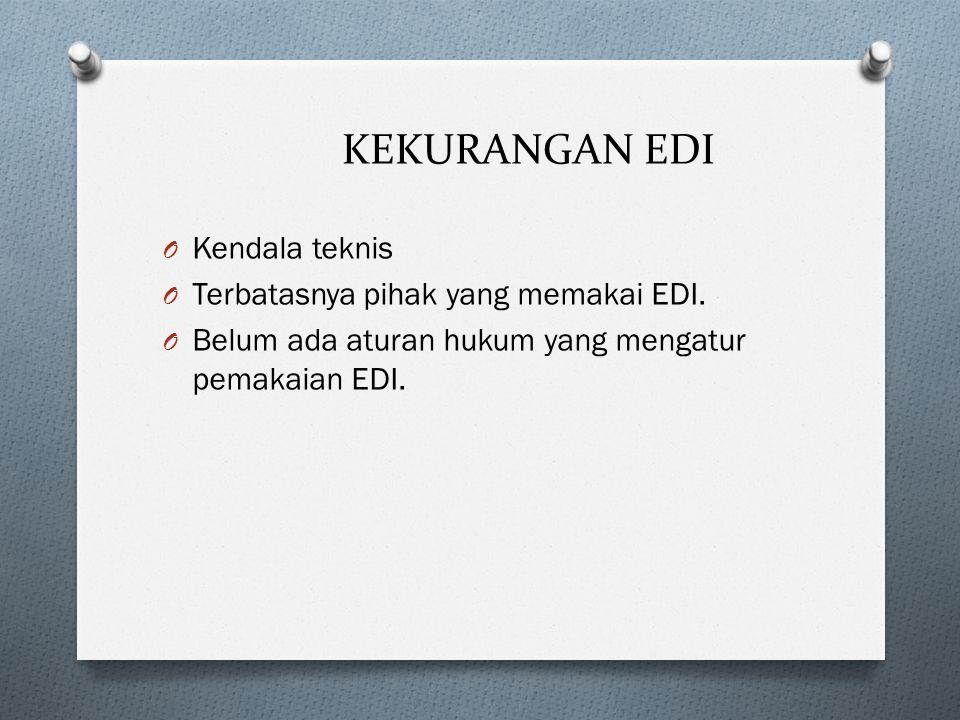 KEKURANGAN EDI Kendala teknis Terbatasnya pihak yang memakai EDI.