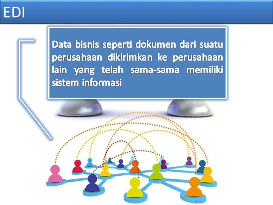 EDI Data bisnis seperti dokumen dari suatu perusahaan dikirimkan ke perusahaan lain yang telah sama-sama memiliki sistem informasi.