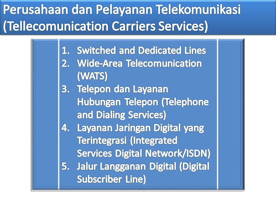 Perusahaan dan Pelayanan Telekomunikasi (Tellecomunication Carriers Services)
