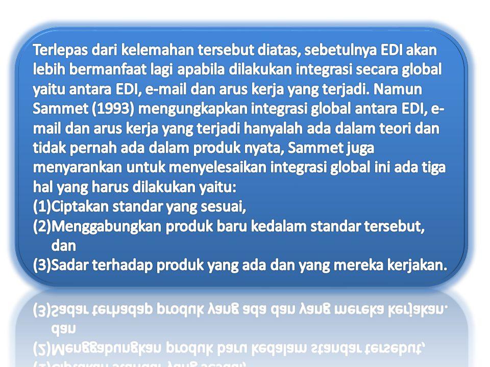 Terlepas dari kelemahan tersebut diatas, sebetulnya EDI akan lebih bermanfaat lagi apabila dilakukan integrasi secara global yaitu antara EDI, e-mail dan arus kerja yang terjadi. Namun Sammet (1993) mengungkapkan integrasi global antara EDI, e-mail dan arus kerja yang terjadi hanyalah ada dalam teori dan tidak pernah ada dalam produk nyata, Sammet juga menyarankan untuk menyelesaikan integrasi global ini ada tiga hal yang harus dilakukan yaitu:
