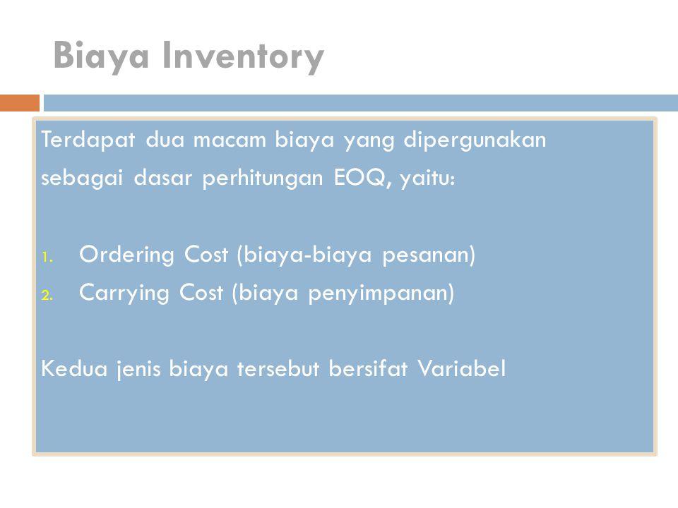 Biaya Inventory Terdapat dua macam biaya yang dipergunakan