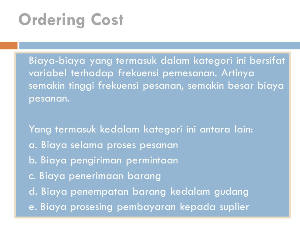 Ordering Cost
