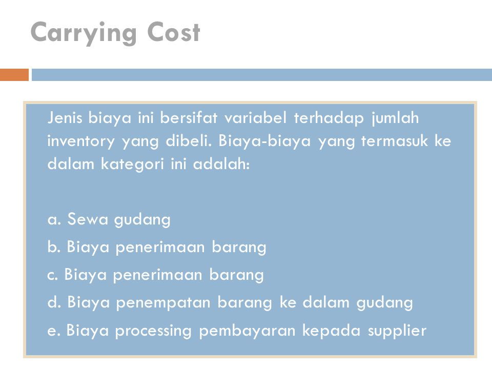 Carrying Cost