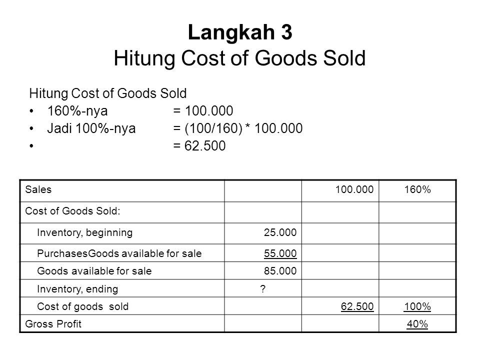 Langkah 3 Hitung Cost of Goods Sold