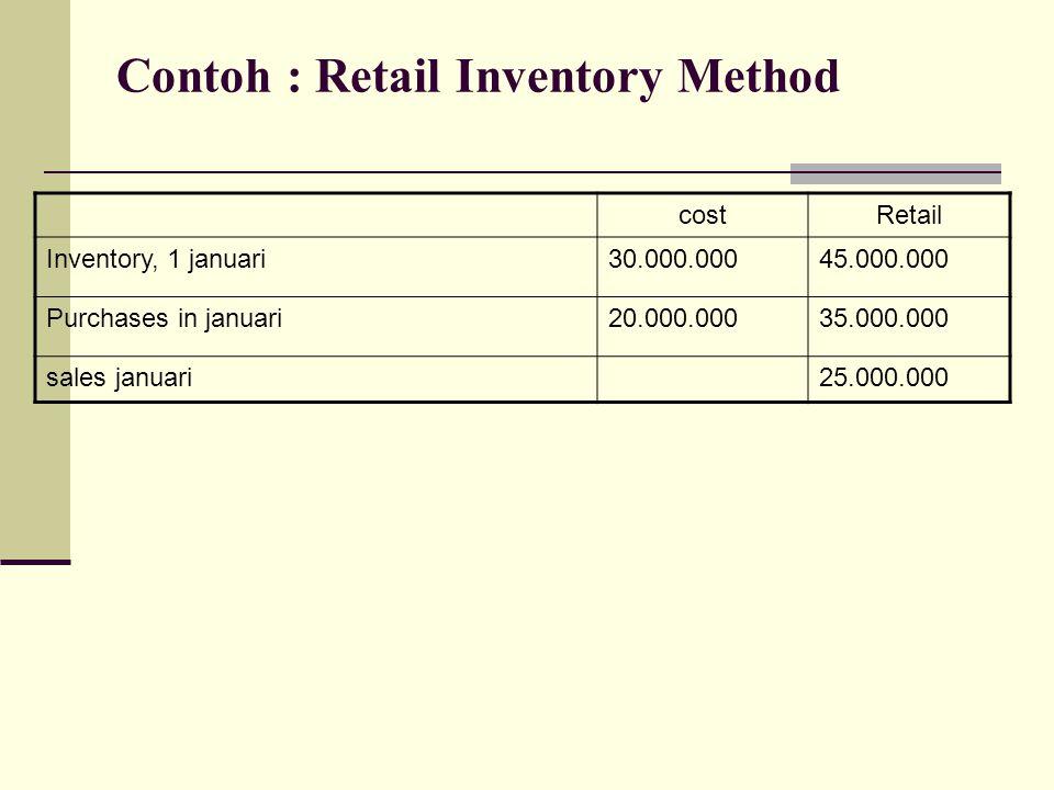 Contoh : Retail Inventory Method