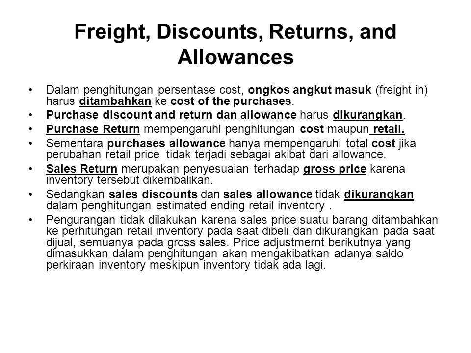 Freight, Discounts, Returns, and Allowances