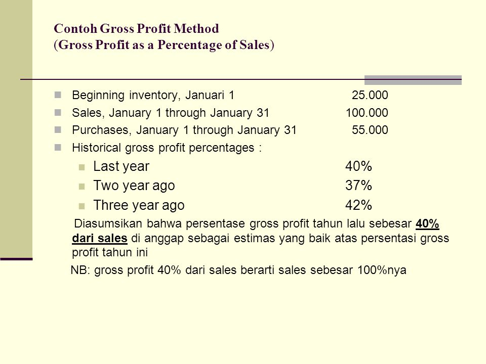 Contoh Gross Profit Method (Gross Profit as a Percentage of Sales)