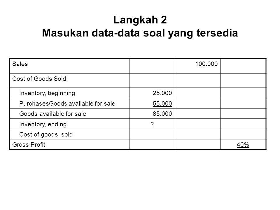Langkah 2 Masukan data-data soal yang tersedia