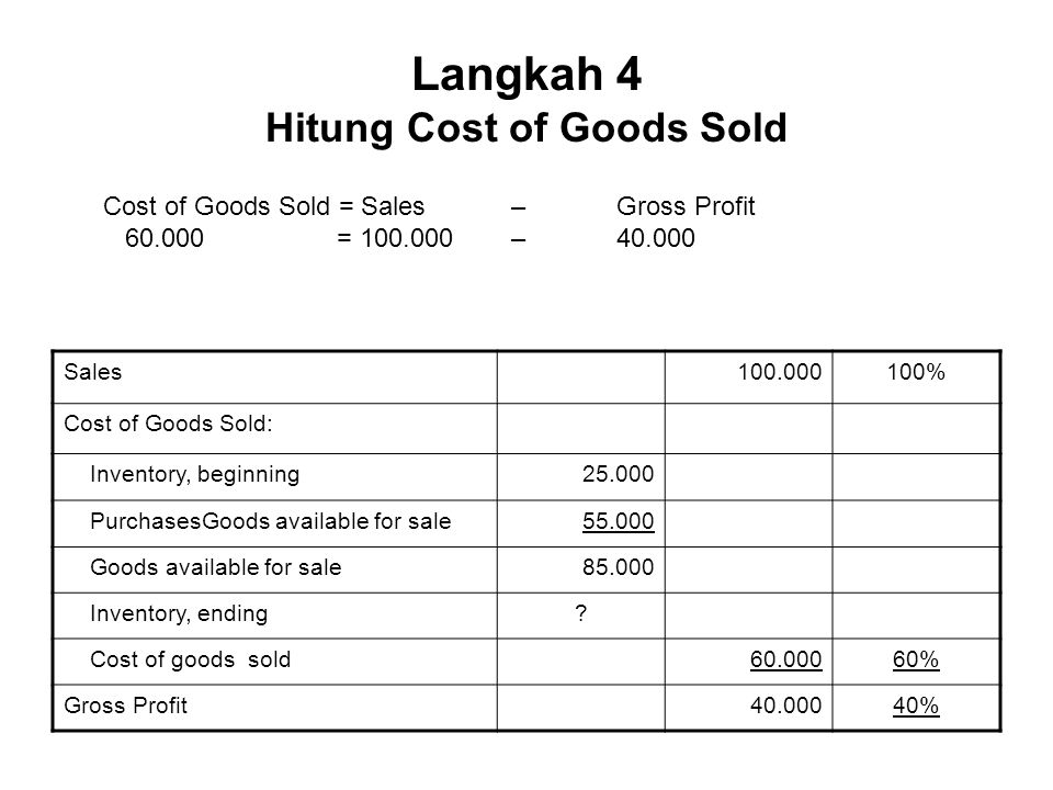 Langkah 4 Hitung Cost of Goods Sold