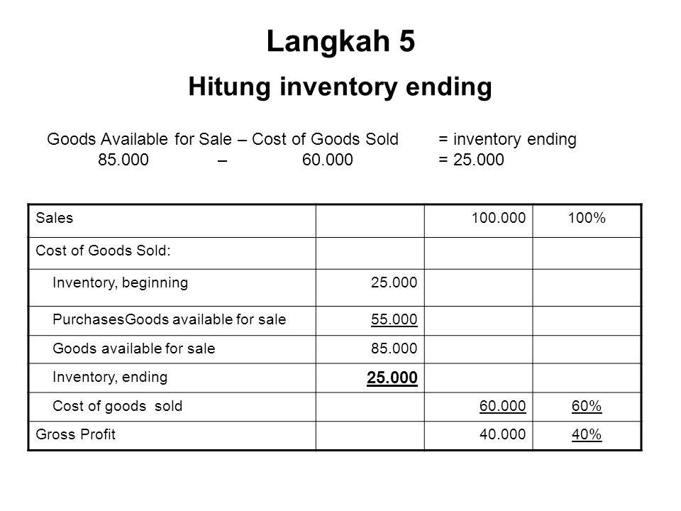 Langkah 5 Hitung inventory ending