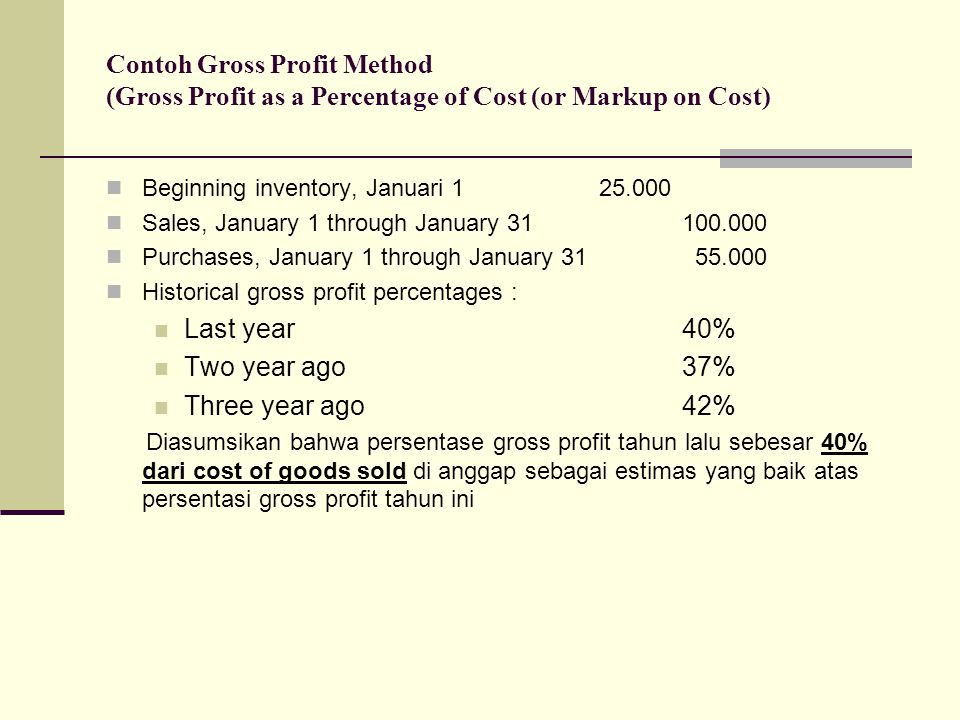 Contoh Gross Profit Method (Gross Profit as a Percentage of Cost (or Markup on Cost)