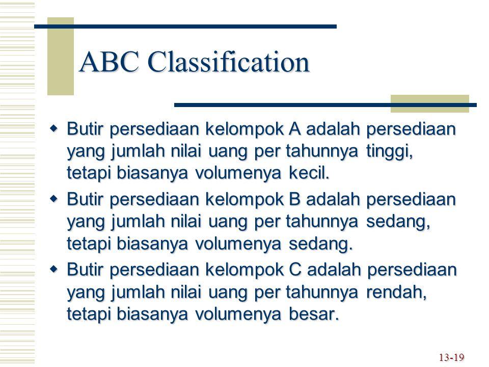 ABC Classification Butir persediaan kelompok A adalah persediaan yang jumlah nilai uang per tahunnya tinggi, tetapi biasanya volumenya kecil.