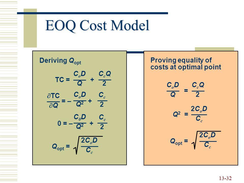 EOQ Cost Model TC = + CoD Q CcQ 2 = – + Q2 Cc TC Q 0 = – + C0D