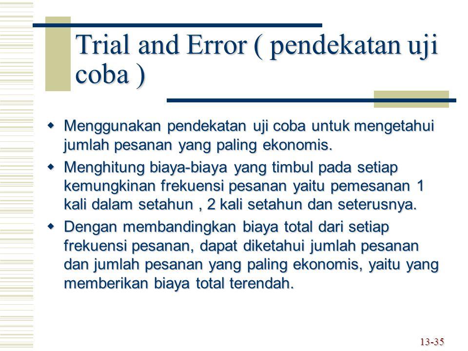 Trial and Error ( pendekatan uji coba )