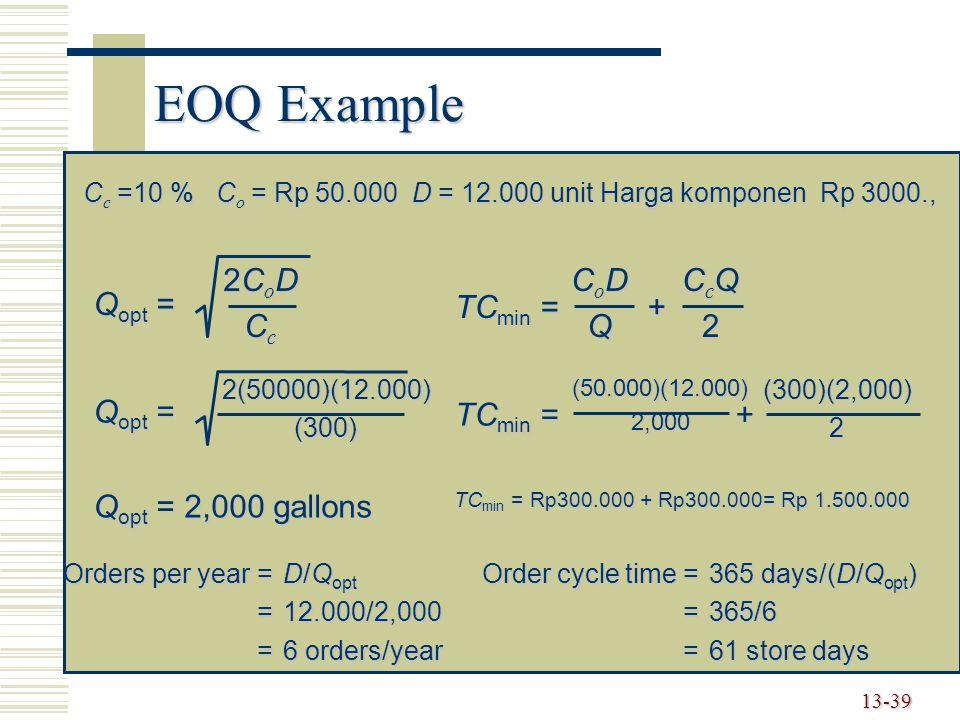 EOQ Example Qopt = 2CoD Cc Qopt = 2,000 gallons TCmin = + CoD Q CcQ 2