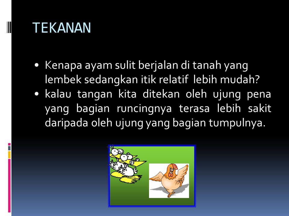 TEKANAN Kenapa ayam sulit berjalan di tanah yang lembek sedangkan itik relatif lebih mudah