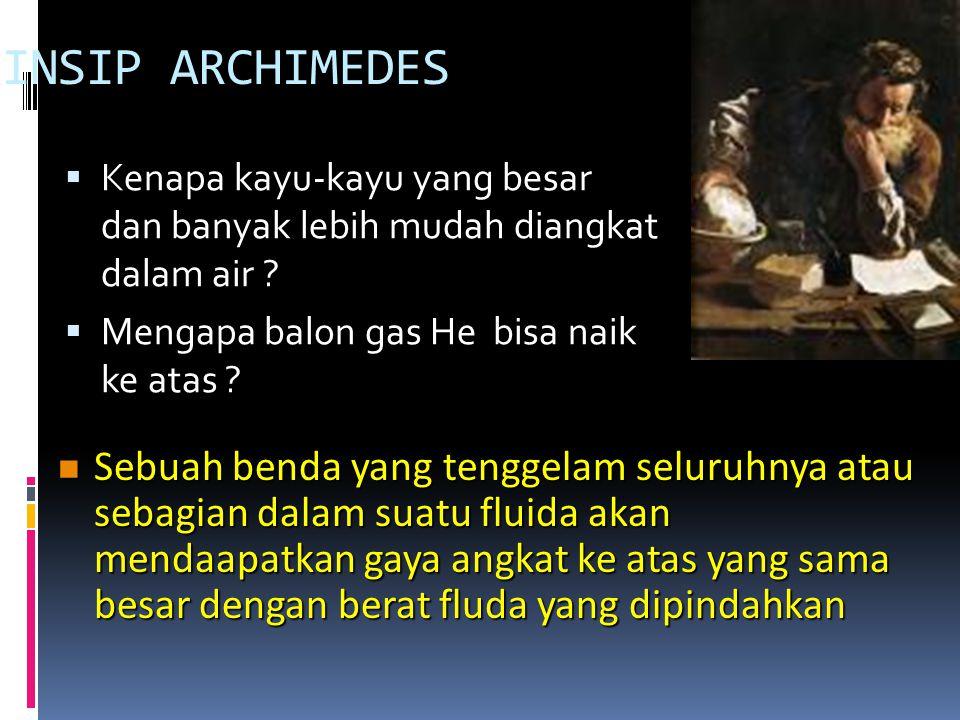 PRINSIP ARCHIMEDES Kenapa kayu-kayu yang besar dan banyak lebih mudah diangkat dalam air Mengapa balon gas He bisa naik ke atas
