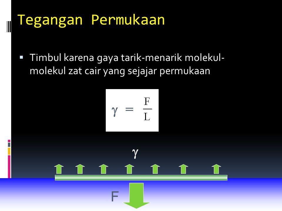 Tegangan Permukaan  =  F