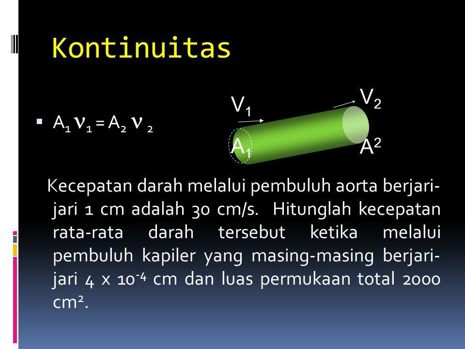Kontinuitas V2 V1 A2 A1 A1 1 = A2  2