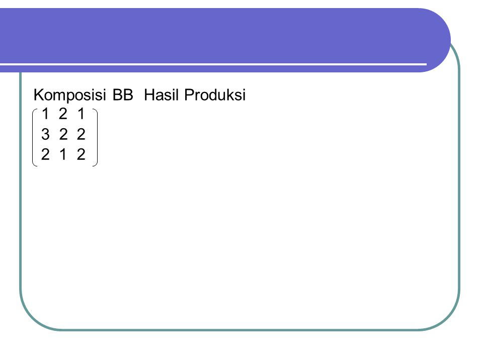 Komposisi BB Hasil Produksi 1 2 1 2 2 2 1 2
