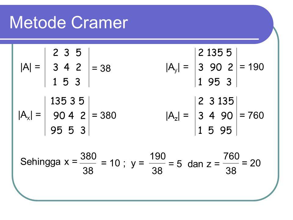 Metode Cramer 3 5 4 2 1 5 3 2 135 5 3 90 2 1 95 3 |A| = = 38 |Ay| =