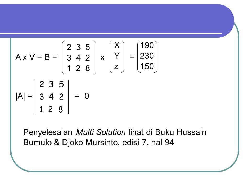 X Y. z. 190. 230. 150. 3 5. 4 2. 1 2 8. A x V = B = x. = 3 5. 4 2. 1 2 8. |A| =