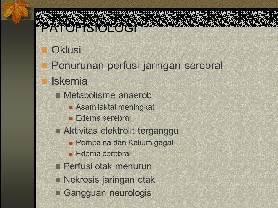 PATOFISIOLOGI Oklusi Penurunan perfusi jaringan serebral Iskemia