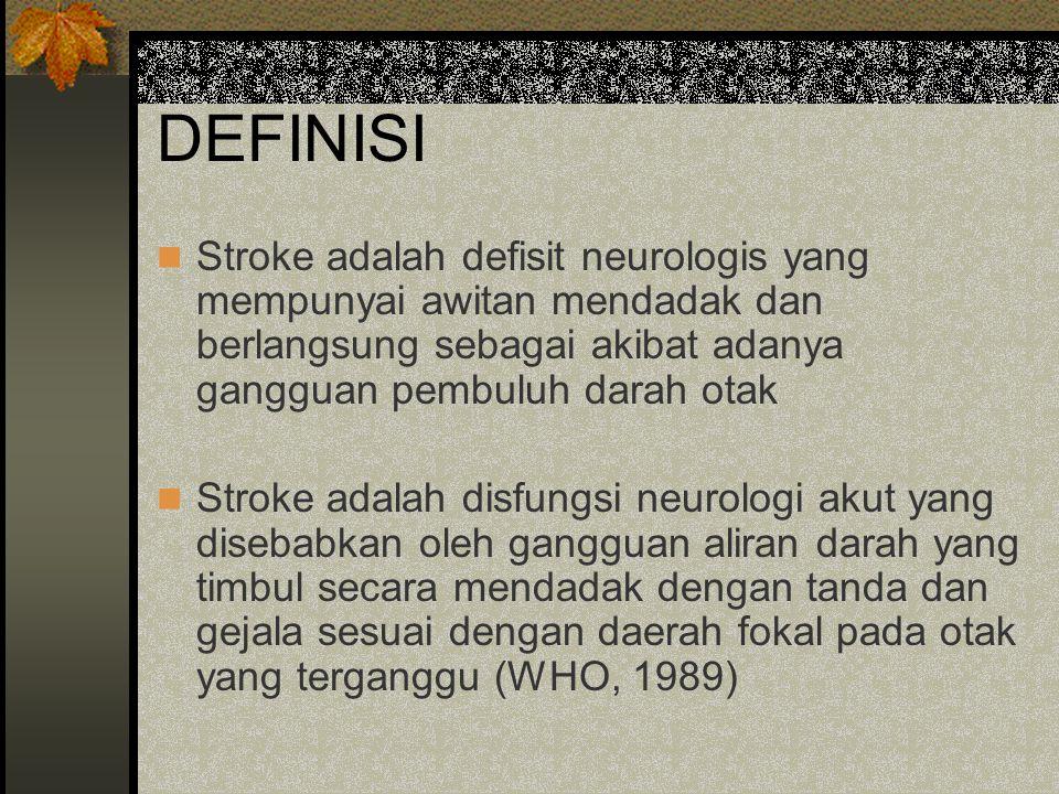 DEFINISI Stroke adalah defisit neurologis yang mempunyai awitan mendadak dan berlangsung sebagai akibat adanya gangguan pembuluh darah otak.