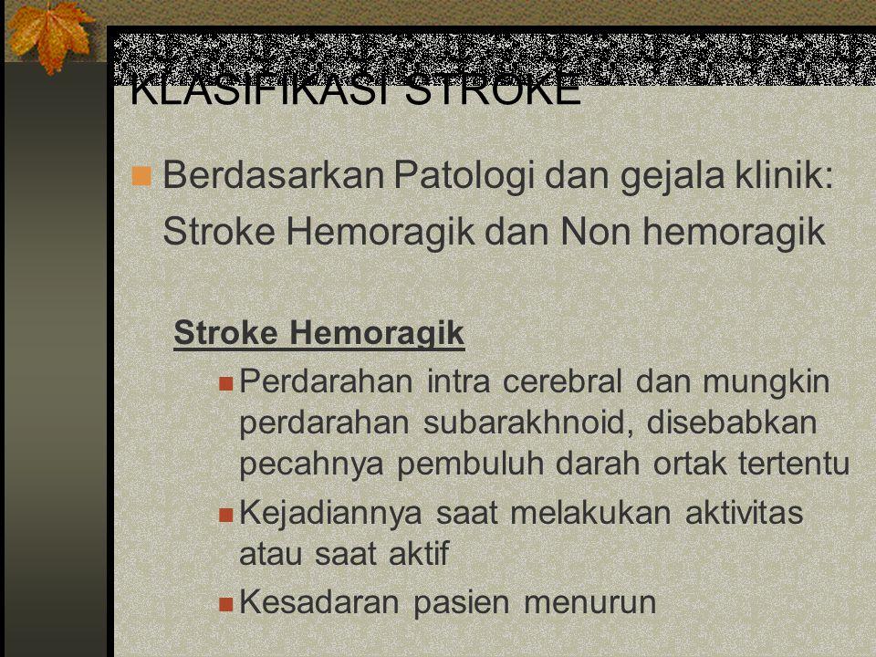 KLASIFIKASI STROKE Berdasarkan Patologi dan gejala klinik: