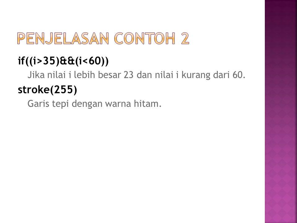 Penjelasan Contoh 2 if((i>35)&&(i<60)) stroke(255)