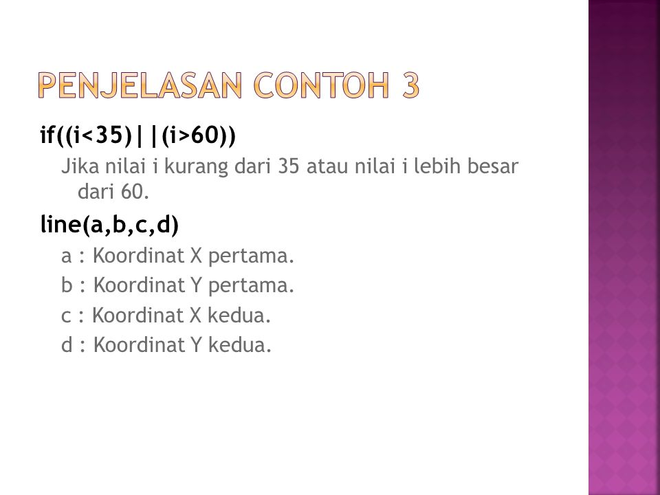 Penjelasan Contoh 3 if((i<35)||(i>60)) line(a,b,c,d)