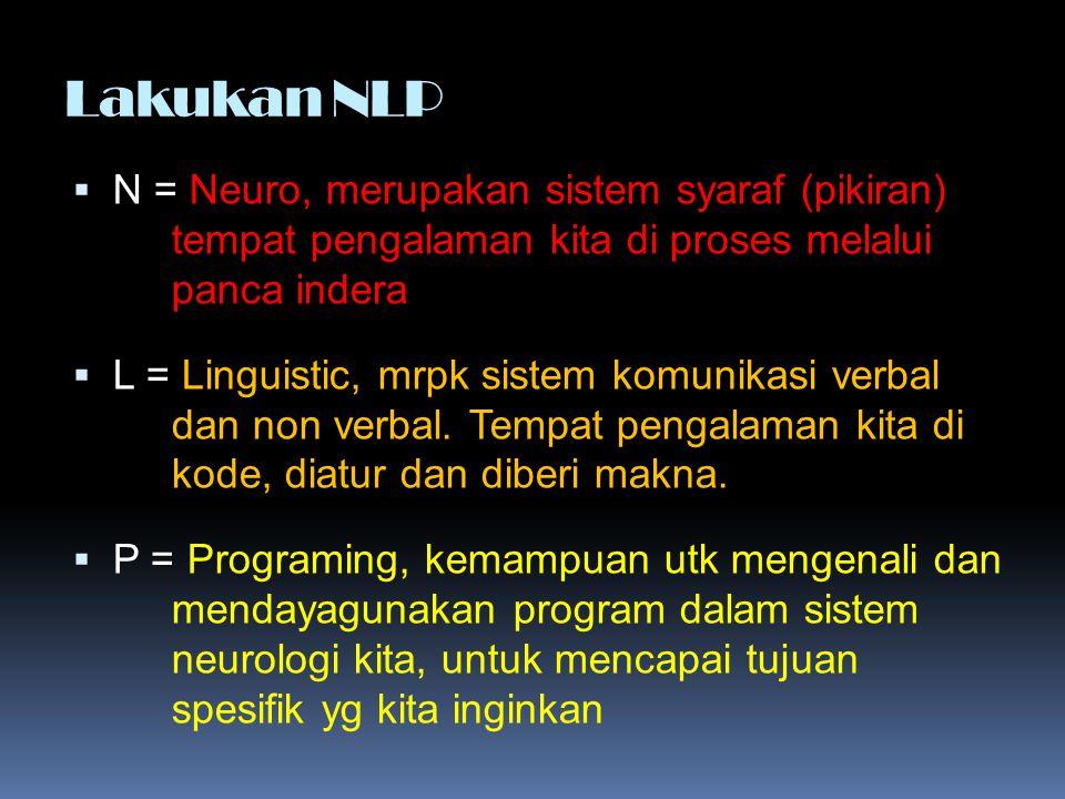 Lakukan NLP N = Neuro, merupakan sistem syaraf (pikiran) tempat pengalaman kita di proses melalui panca indera.
