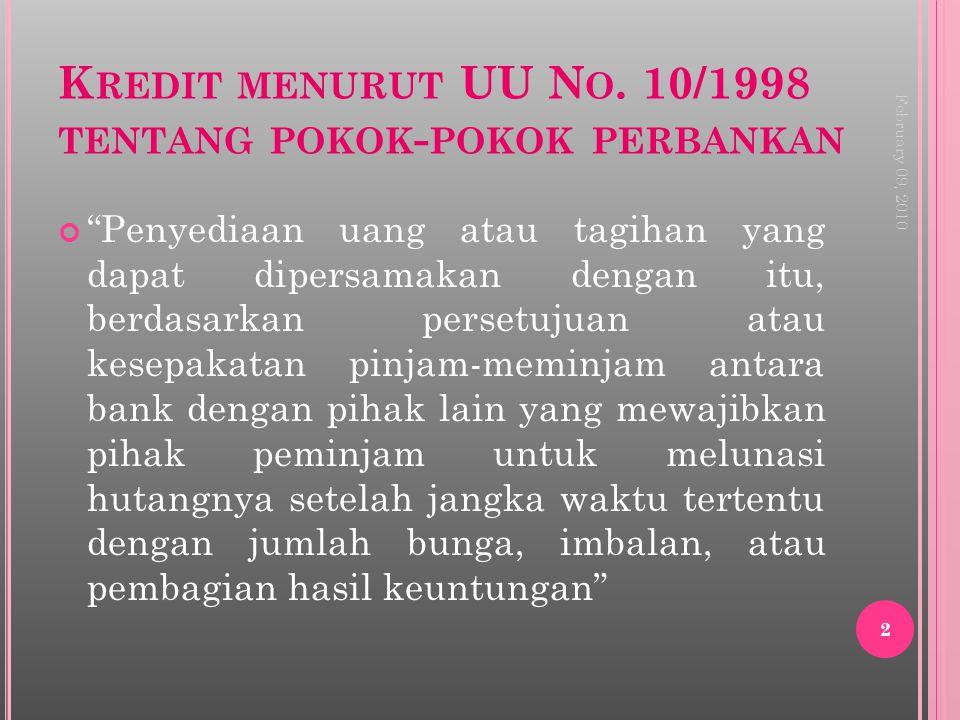 Kredit menurut UU No. 10/1998 tentang pokok-pokok perbankan