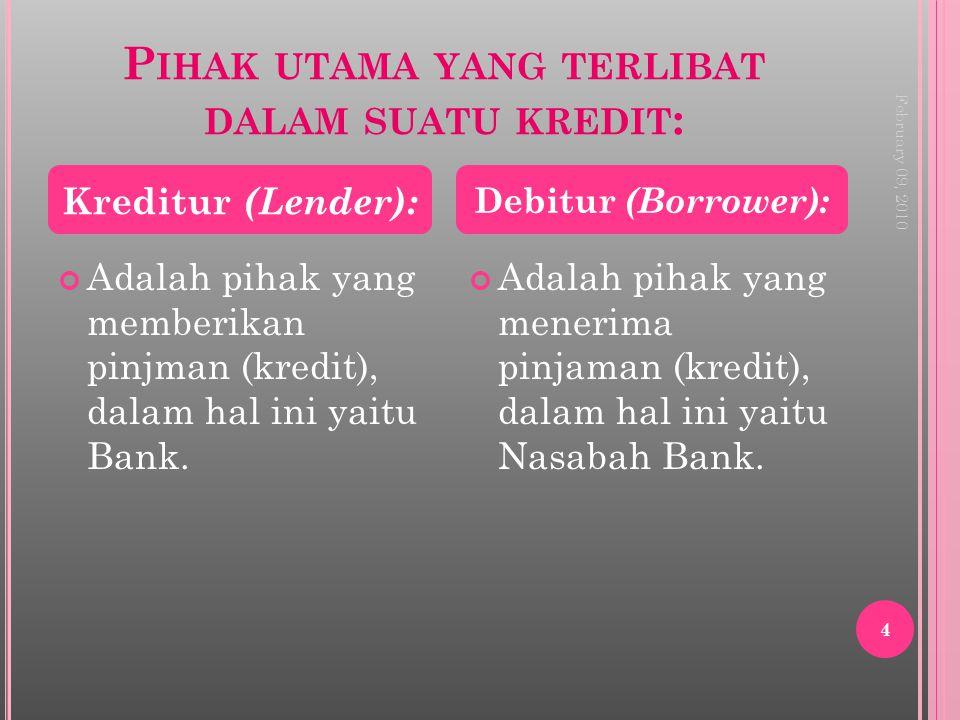 Pihak utama yang terlibat dalam suatu kredit: