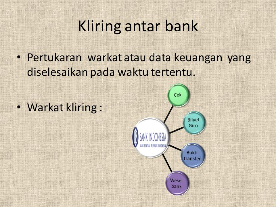 Kliring antar bank Pertukaran warkat atau data keuangan yang diselesaikan pada waktu tertentu. Warkat kliring :