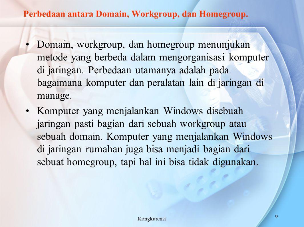 Perbedaan antara Domain, Workgroup, dan Homegroup.