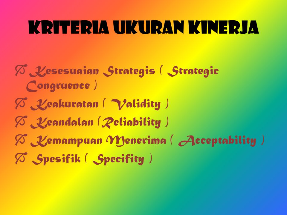 Kriteria Ukuran Kinerja