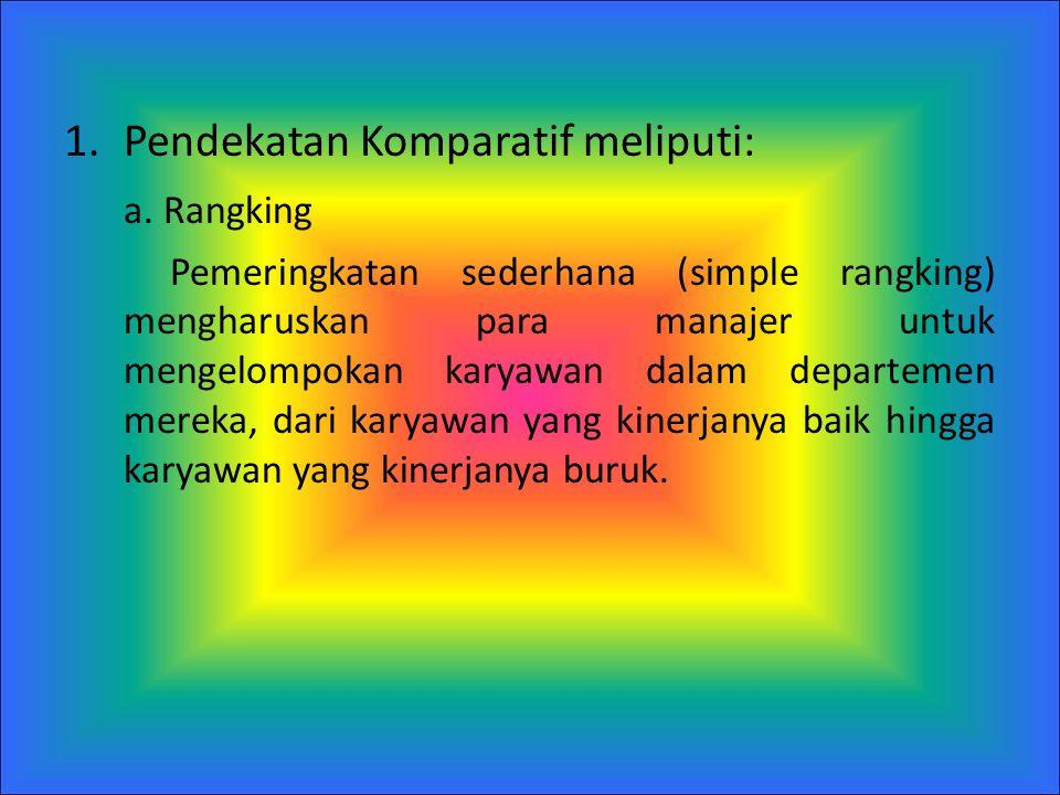 Pendekatan Komparatif meliputi: a. Rangking