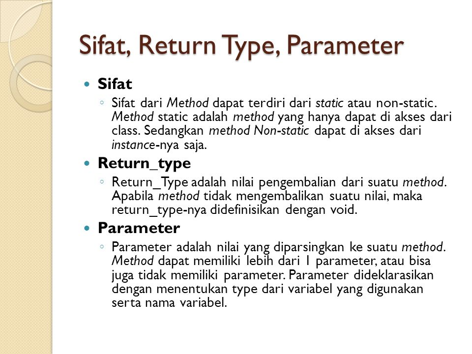 Sifat, Return Type, Parameter