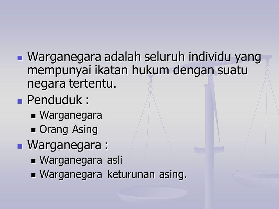Warganegara adalah seluruh individu yang mempunyai ikatan hukum dengan suatu negara tertentu.