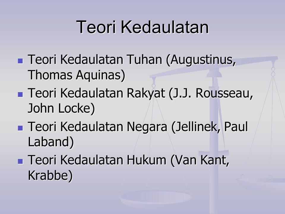 Teori Kedaulatan Teori Kedaulatan Tuhan (Augustinus, Thomas Aquinas)