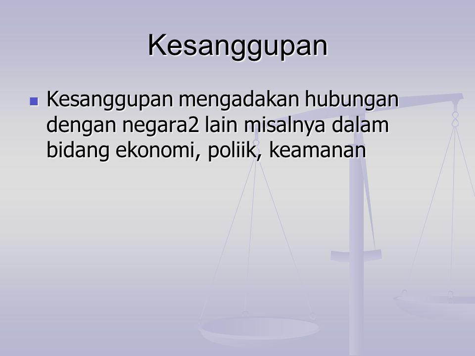 Kesanggupan Kesanggupan mengadakan hubungan dengan negara2 lain misalnya dalam bidang ekonomi, poliik, keamanan.