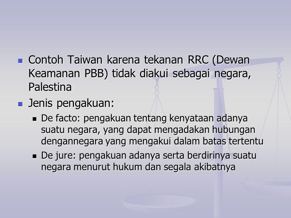 Contoh Taiwan karena tekanan RRC (Dewan Keamanan PBB) tidak diakui sebagai negara, Palestina