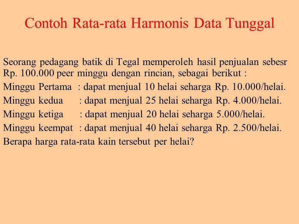 Contoh Rata-rata Harmonis Data Tunggal