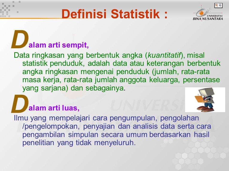 D D Definisi Statistik : alam arti sempit,