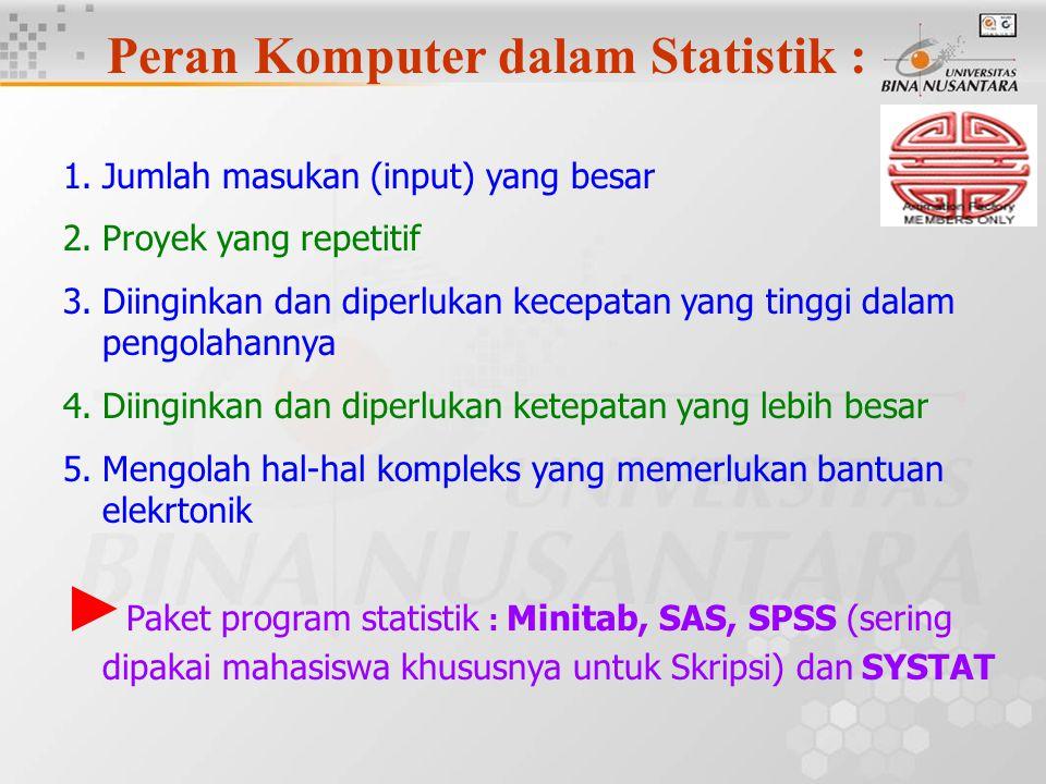 Peran Komputer dalam Statistik :